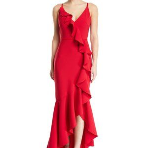 Marchesa Notte Cascading Ruffle High-Low Gown